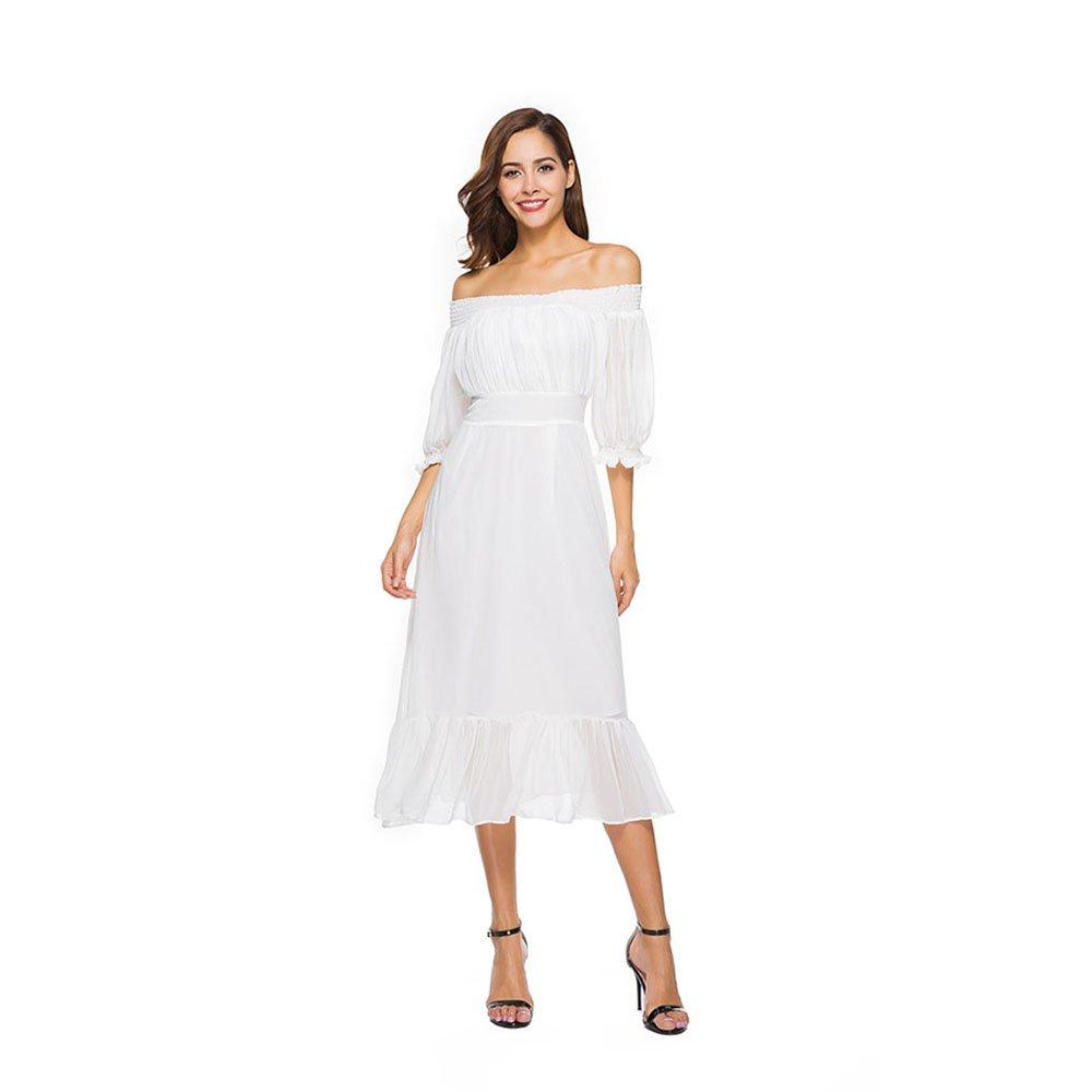 Dig dog bone Women's Chiffon Dress Boat Neck Slim Thin Chiffon Dress Travel Vacation Beach Skirt (Color : White, Size : S)