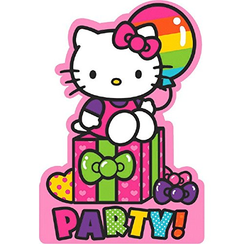 "Adorable Hello Kitty Rainbow Birthday Party Invitations Cards Supply (8 Pack), Pink, 6 1/4"" x 4 1/4""."