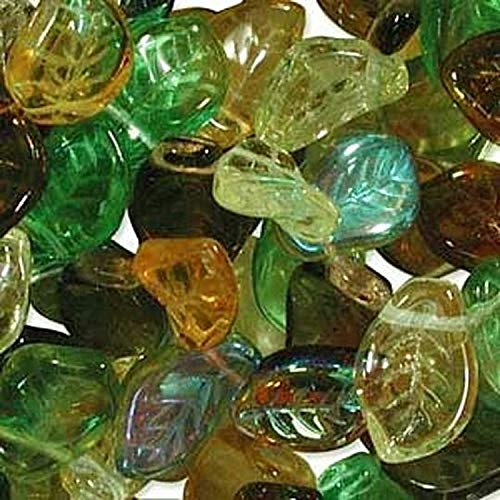 Leaves Glass - UnCommon Artistry Earth Tones Leaf Mix Beads (Pack of 50)