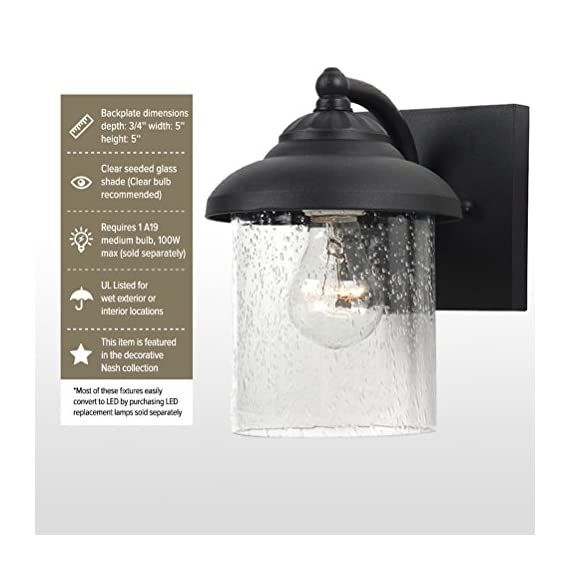 """Sea Gull Lighting 84068-12 Lambert Hill One-Light Outdoor Wall Lantern with Clear Seeded Glass Shade, Black Finish - DIMENSIONS OF OUTDOOR WALL LANTERN: (width x height) 6 x 8 1/4 inches; extends 7 3/4 inches; backplate dimensions (depth x width x height) 3/4 x 5 x 5 inches CLEAR SEEDED GLASS PANEL FOR OPTIMAL ILLUMINATION: these outdoor wall lantern lights have clear seeded glass shades which protect the bulbs without obstructing illumination COMES WITH A 6.5"""" WIRE: you may conveniently install the outdoor wall lanterns as each one comes with a 6.5"""" (16.5 cm) wire that makes installing easy - patio, outdoor-lights, outdoor-decor - 51G H znGdL. SS570  -"""