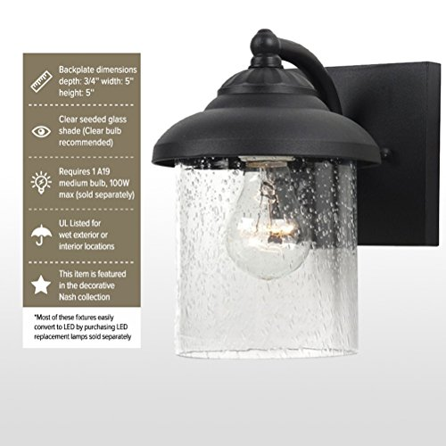 Sea Gull Lighting 84068-12 Lambert Hill One-Light Outdoor Wall Lantern with Clear Seeded Glass Shade, Black Finish by Sea Gull Lighting (Image #2)