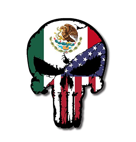 Mexico USA Flag Punisher Skull Vinyl Decal Sticker Truck Car