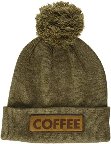 Coal Men's The Vice Fine Knit Cuffed Pom Beanie Hat, Heather Brown, Mid Length
