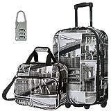 DAVIDJONES Upright Carry-on & Travel case Luggage Set, 2 Piece - BROOKLYN (BA-1001-2PV-BROOKLYN)