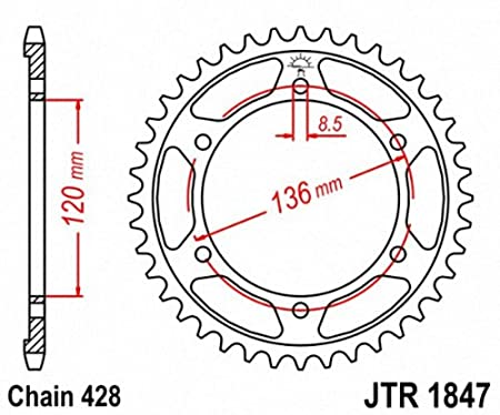 JT Sprockets JTR1847.51 51T Steel Rear Sprocket