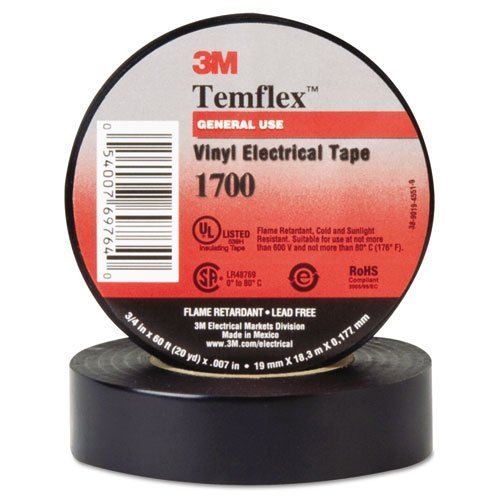 Temflex Vinyl Electrical Tape (3M Electrical 69764 Black Temflex Vinyl Electrical Tapes 1700, 60