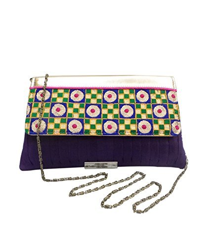 Pleated Silk Clutch (Bhamini Women's Pleated Raw Silk Clutch With Gold Touch Embroidery Purple)