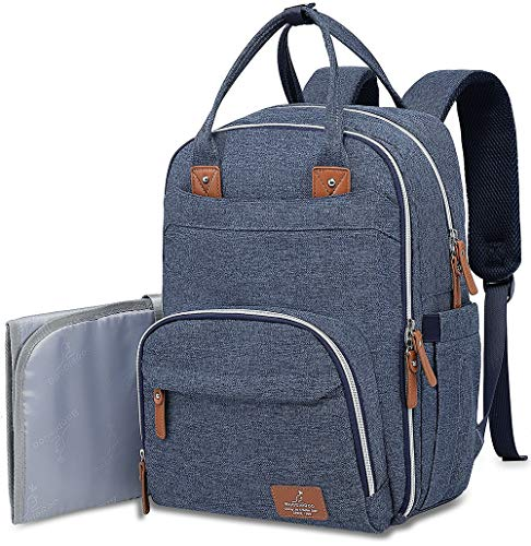 Diaper Bag Backpack, BabbleRoo Neutral Travel Back Pack for Mom & Dad, Large Capacity Waterproof Baby Nappy Changing Bags for Boys & Girls, Multifunction & Stylish, Denim Blue (Changing Denim Pad)