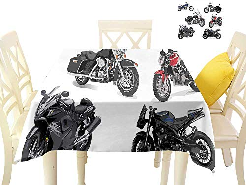 (W Machine Sky Waterproof Tablecloth Motorcycle Unique Original Motorcycles Set Freestyle Action Life with Winged Wheels Hobby Print W36 xL36 Suitable for Buffet Table, Parties, Wedding)