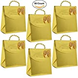 Best Handles For Parties - 50 Mini Gold Party Favor Gift Bags Review