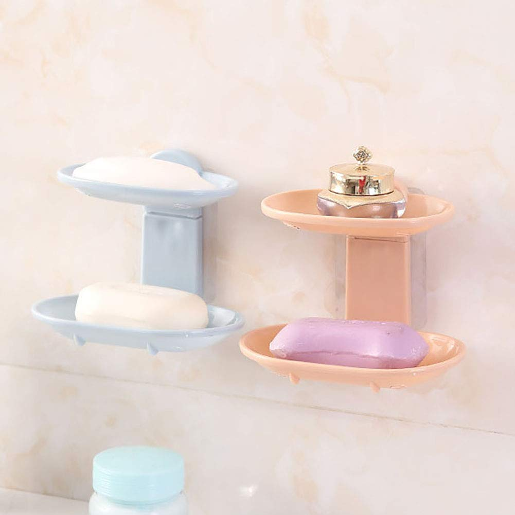 Slendima 5.51'' x 3.94'' x 4.72'' Nordic Double Layer Soap Dish Drain Box, Bathroom Kitchen Adhesive Storage Wall Holder - Easy to Install Pink by Slendima (Image #7)