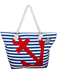 Large Cotton Beach Bag Tote ,RiscaWin Zipper Top Rope Handles beach bag