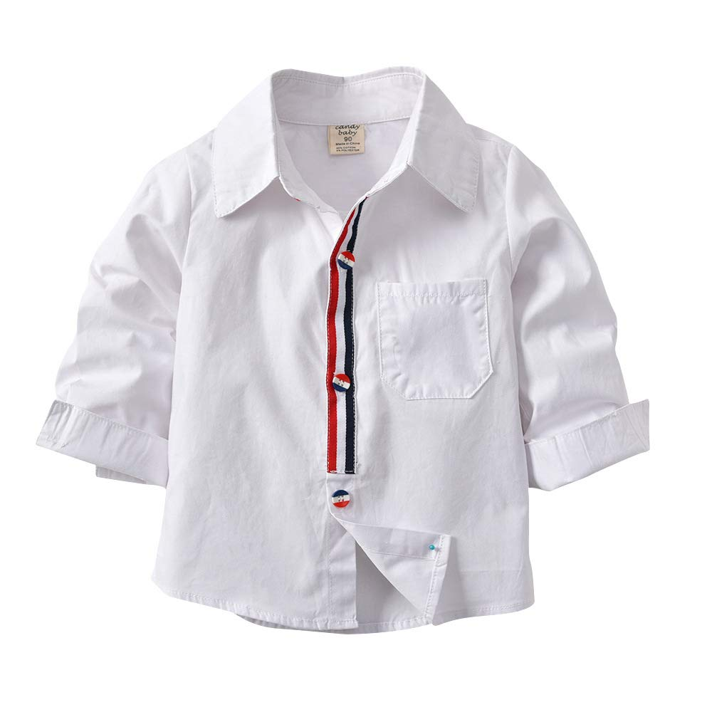 Milkiwai Boys Dress Shirt Long Sleeve Button Down Formal Wear