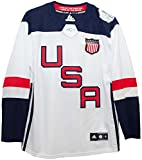This is a men's USA World Cup of Hockey 2016 white Premier jersey. Made by Adidas, this jersey has tackle twill graphics and embroidered WCH patch at neck. Sizing is similar to Reebok Premier jerseys, order the same size as the t-shirt you we...