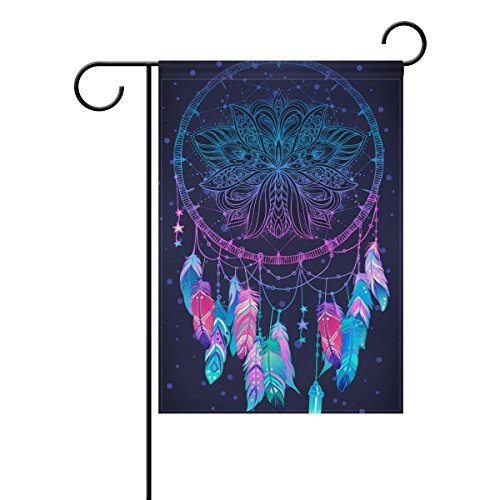 Raininc's Chic Bohemian Dream Catcher with Feathers Garden Flag Double Sided Fade Resistant Polyester Holiday Decorative House Flag Banner 12x18