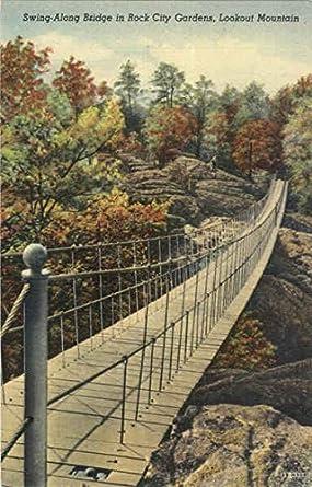 Swing along bridge in rock city gardens lookout mountain swing along bridge in rock city gardens lookout mountain tennessee original vintage postcard sciox Gallery