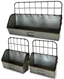 Metal Shelf Bin, Set of 3, Old Factory Style | (Sitting, Hanging, Galvanized, Industrial) | by Urban Legacy