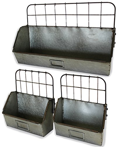 Urban Legacy Metal Shelf Bin, Set of 3, Old Factory Style | (Sitting, Hanging, Galvanized, Industrial)
