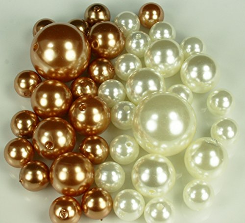 DPC Wholesale Elegant Vase Fillers - Approx 42 Assorted Pearls Beads - Unique Decorative Gems (Antique Gold & - Pearl Antique Ivory