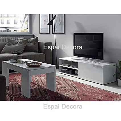 CONJUNTO SALON, MESA TV + MESA DE CENTRO BLANCO - PORTES ...