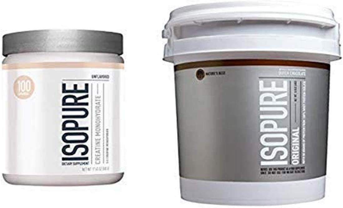 Isopure Creatine Powder 500g, Unflavored and Original Protein Powder, 100% Whey Protein Isolate, Flavor: Dutch Chocolate, 8.8 Pounds (Packaging May Vary)
