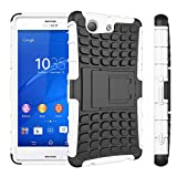 MOONCASE Xperia Z3 Compact Case Detachable 2 in 1 Hybrid Armor Design Shockproof Tough Rugged Dual-Layer Case Cover with Built-in Kickstand for Sony Xperia Z3 Compact White
