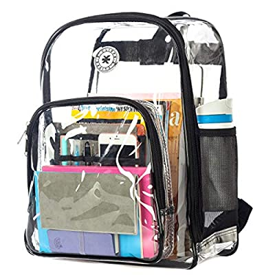Heavy Duty Clear Backpack See Through PVC Stadium Security Transparent Workbag   Black: Clothing