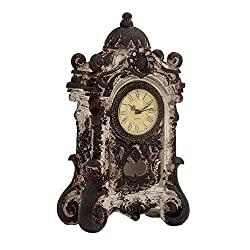 Deco 79 Ceramic Table Clock, 8 by 13-Inch, Rust Brown