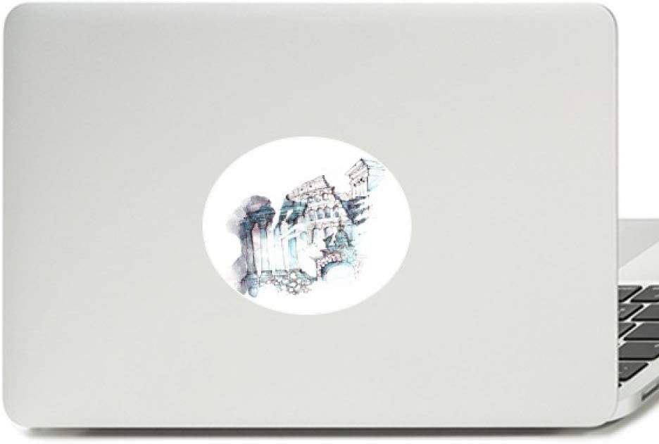 Ruined Rome Architectural Watercolor Painting Vinyl Emblem Graphic Laptop Sticker Notebook Decal