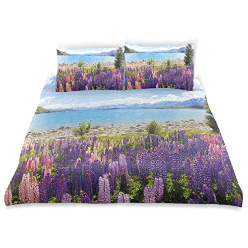 - YCHY Duvet Cover Set, Field of Lupin Wildflowers On The Shore Lake Tekapo New Zealand Idyllic Scenery Print, Decorative 3Pc Bedding Sets with 2 Pillow Shams Twin Size