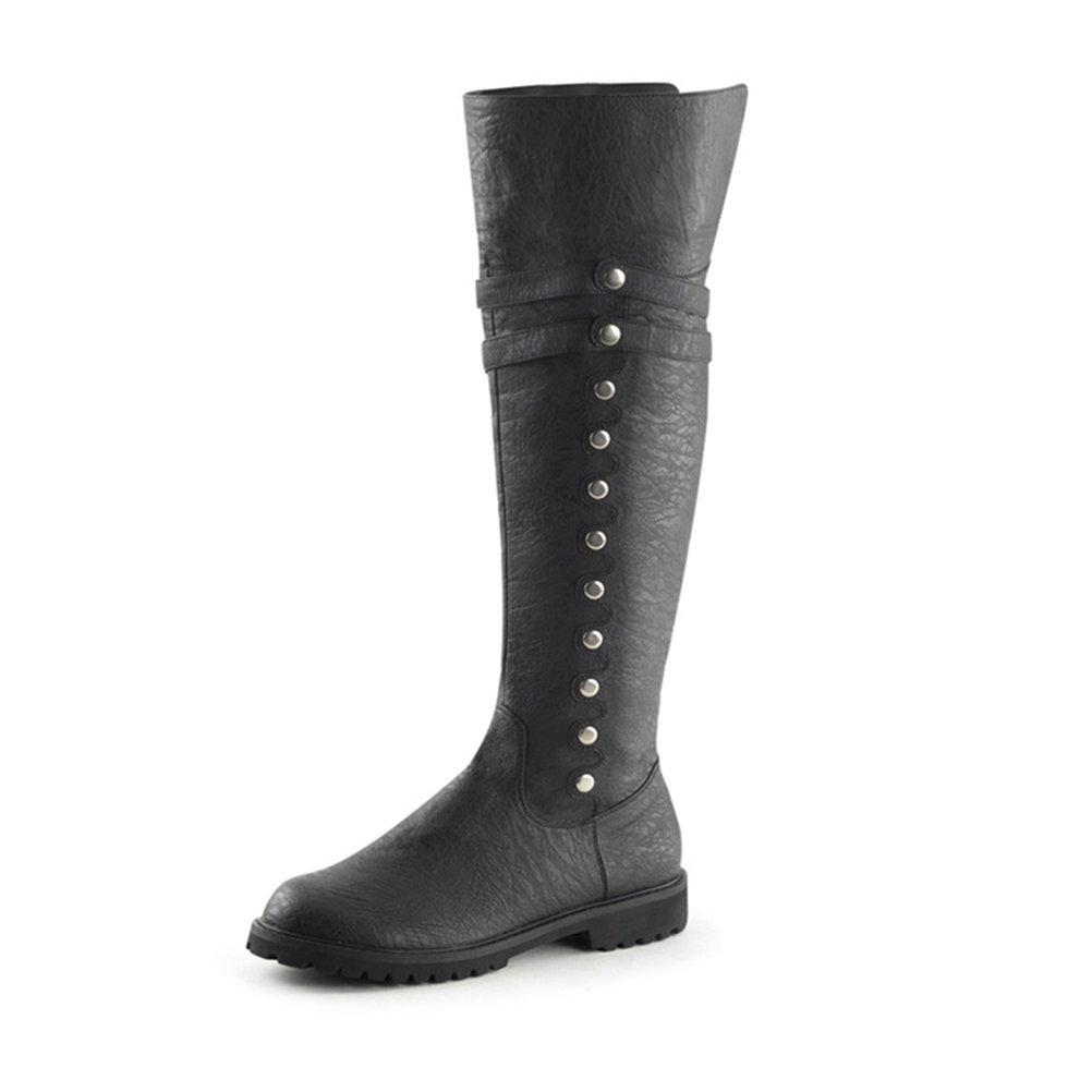 Summitfashions Mens Black Boots with Fold Over Cuff Pirate Boots with 1.5'' Flat Heels