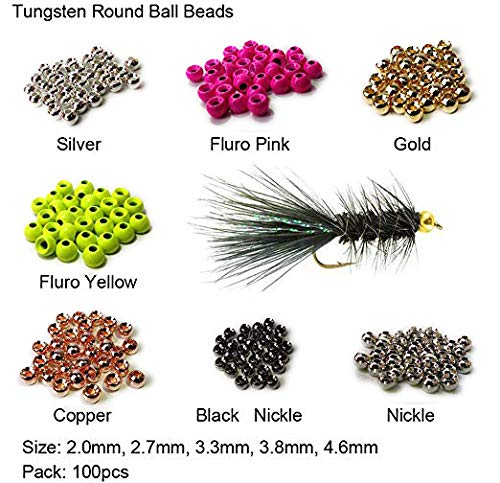 Fly Tying Painted Tungsten Beads very dense deep sinking 4.0 mm Black 25 beads