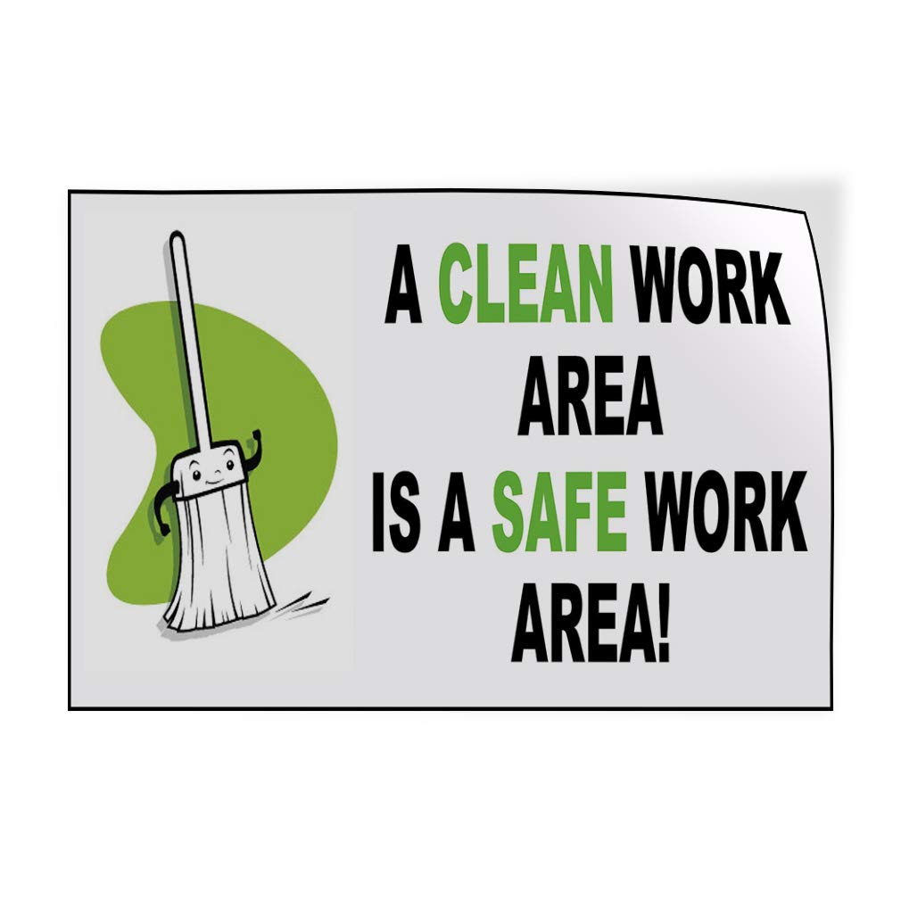 54inx36in Set of 2 Decal Sticker Multiple Sizes A Clean Work Area White Black Lifestyle Clean Area Outdoor Store Sign White