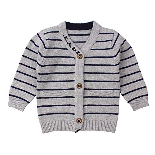 Newborn Boys Sweater Infant Baby Striped Outfit Knitted Cardigans for 0-9M (7-9M, Gray)