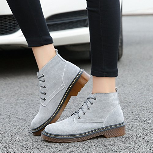 Anguang Women's Winter Outdoor Flat Ankle Boots Lace Up Shoes Slow Gray 1 kqAPE