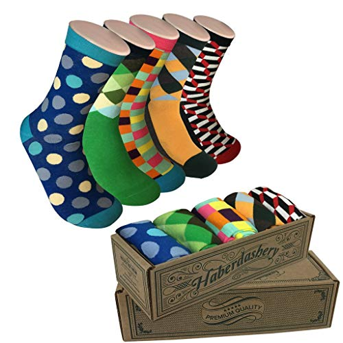 Modern Motif Men's Power Socks, 5 Pairs Per Sock Gift Box, Funky Men's Crew Socks, Colorful Patterned Socks for Men, Ideal Coworker, Dad, Boss, and College Graduation Gift, Sockgame Plan-B Collection