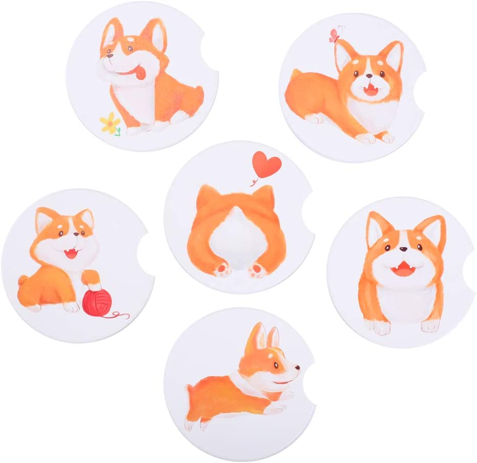 Anpatio 6 PCS Corgi Dog Gift Car Coasters, 2.56 Inch Ceramic Auto Cup Holder Coaster with a Finger Notch for Puppy Dog Lovers