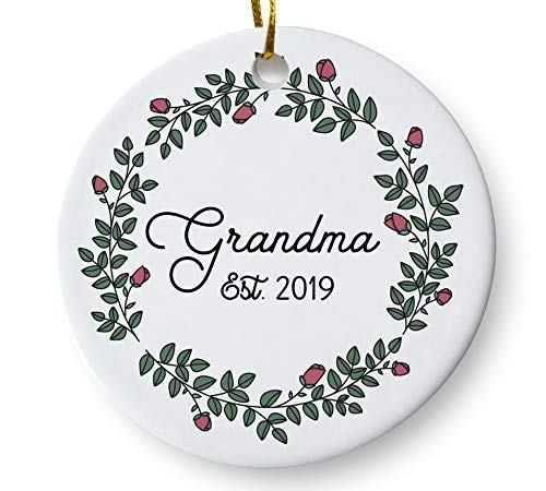 Grandma Est. 2019 Christmas Tree Ornament, New Grandmother, Baby Reveal Pregnancy Announcement Keepsake, Gift for Mom Mother Grandma To Be, 3 Inch Flat Ceramic Ornament with Gift Box