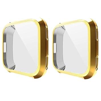 Fitbit Versa protector pantalla, 2 piezas de TPU blando plateado Estuche protector Fitbit Versa Funda