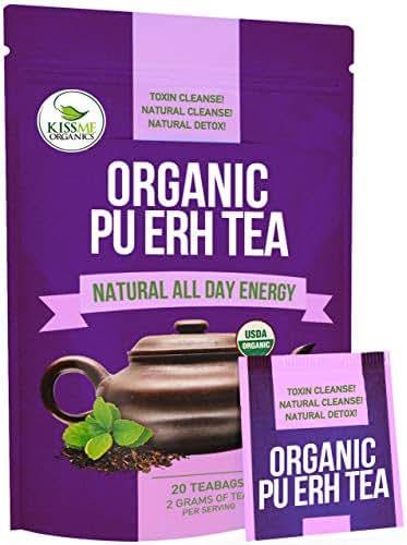 Organic Puerh Tea - Premium Quality Fermented Puerh Tea - Energizing, Detoxifying and Delicious - Aged Black Yunnan Tea - 20 Teabags