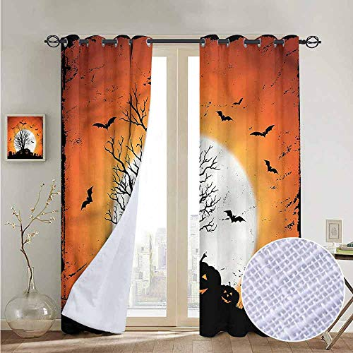 NUOMANAN Room Darkening Wide Curtains Vintage Halloween,Bats Pumpkins,Light Blocking Drapes with Liner -