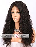 Chantiche 360 Lace Wig with Baby Hair, 360 Lace Frontal Wig Pre Plucked Brazilian Curly Human Hair Wigs for Black Women Natural Brown 16inches