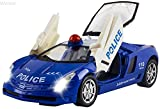 WolVol Police Car Toy with Lights and Sirens, Automatic Opening Doors and Trunk, Bumps and Goes