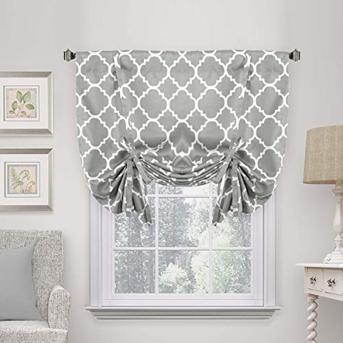 H.VERSAILTEX Beautiful Quatrefoil Dove Pattern Thermal Insulated Blackout Tie Up Panel, Rod Pocket Home Fashion Balloon Shade for Small Window, W42 x L63 inch-Dove(Set of 1)