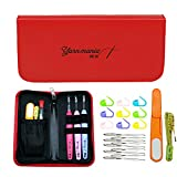 Yarn Mania - Light up Crochet Hook (3pcs) | Lighted Crochet Hooks Complete Set (Size 4, 5 & 6mm) with Crochet Case and 21 Pieces of Crochet Accessories (Red)