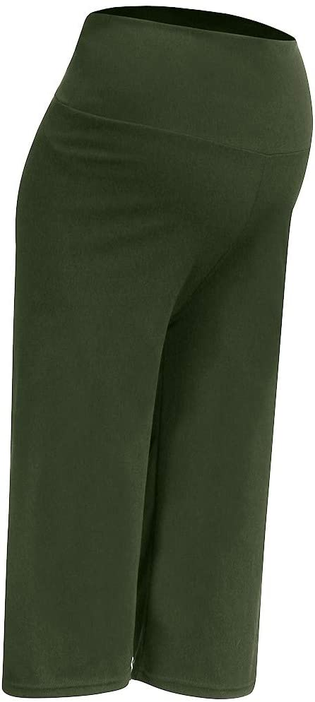 Sagton Maternity Pants Capri Pants High Waisted Tummy Solid Cropped Trousers Army Green,XXL