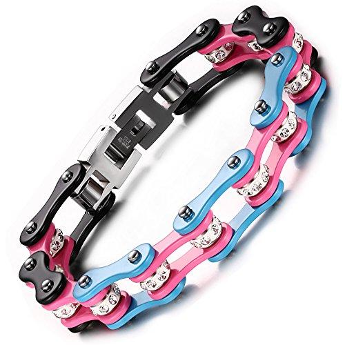 BEMI Cool Style Gothic 10MM Wide Bike Motorcycle Chain Polished Stainless Steel Link Bracelet for Men Pink Blue (Bike Chain Bracelet)
