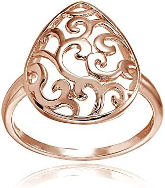Sterling Silver High Polished Teardrop Filigree Fashion Ring