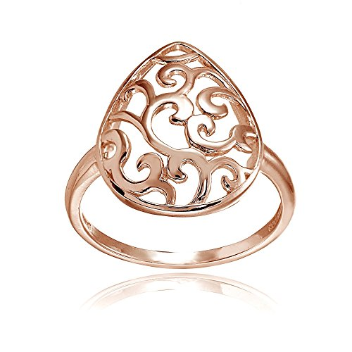 (Rose Gold Flashed Sterling Silver High Polished Teardrop Filigree Fashion Ring, Size 6)