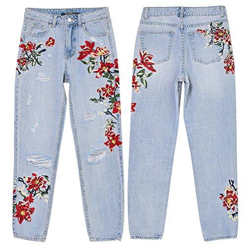 Signore Zhhlaixing Pantaloni I Logorato Le 3d Denim Jeggings Jeans Buco Ricamo Azzurro In Confortevole Irregolarmente Forma qrSpqP